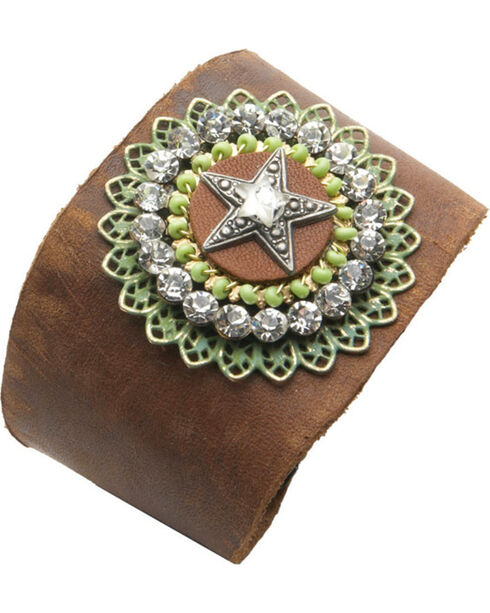 Cowgirl Confetti Leather Rhinestone Star Cuff, Brown, hi-res
