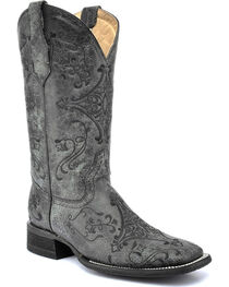 Circle G by Corral Women's Embroidered Swirl Wide Square Toe Western Boots, , hi-res