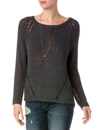 Miss Me Women's Charcoal Distressed Raglan Sleeve Sweater , , hi-res