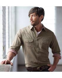 Ryan Michael Men's Olive Yarn Dye Patina Canvas Shirt, , hi-res