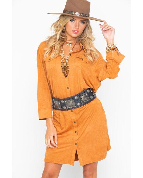 Wrangler Women's Faux Suede Shirt Dress, Tan, hi-res