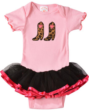 Kiddie Korral Infant Girls' Cowgirl Boots w/ Attached Tutu Bodysuit - 6M-24M, Pink, hi-res