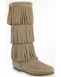 Minnetonka Women's Calf Hi 3-Layer Fringe Boots, , hi-res