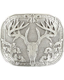 Nocona genuine silver plated 8 point deer skull buckle, , hi-res