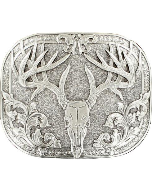 Nocona genuine silver plated 8 point deer skull buckle, Silver, hi-res