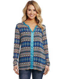 Cowgirl Women's Tribal Printed Button-Up Blouse , Multi, hi-res