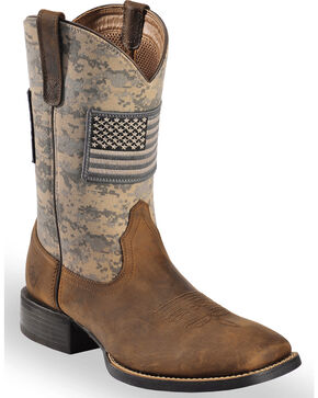 Ariat Men's Distressed Brown Sage Camo Sport Patriot Western Boots - Square Toe , Brown, hi-res