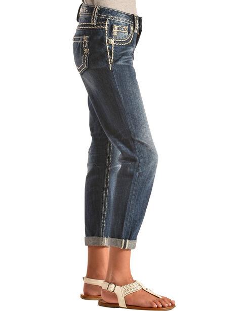 Miss Me Girls' Boyfriend Ankle Cuff Jeans, Indigo, hi-res
