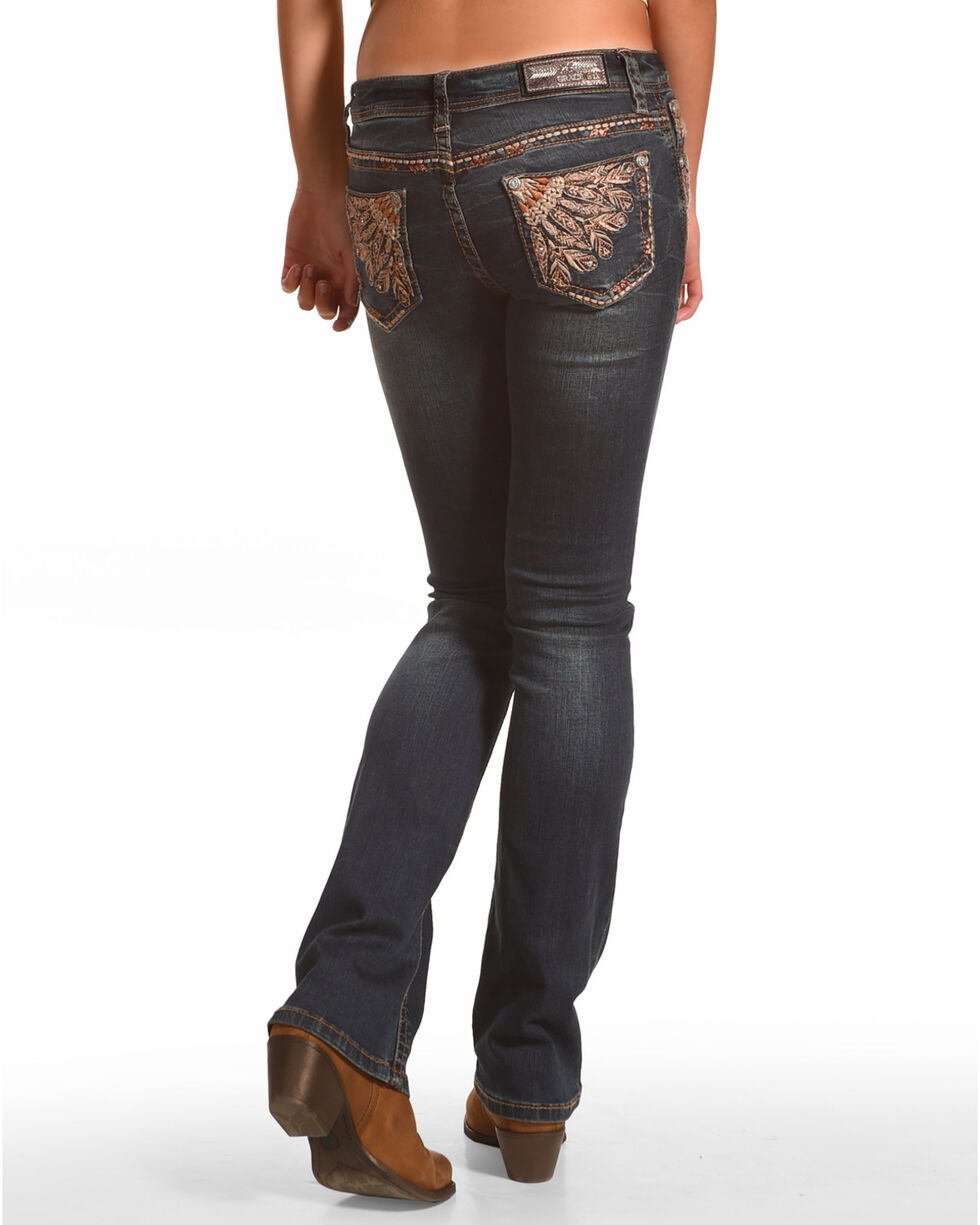 Grace in LA Women's Feather Embroidered Straight Leg Jeans, Indigo, hi-res