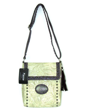 Savana Women's Fierce Tooled Professional Carry Crossbody Purse , Ivory, hi-res