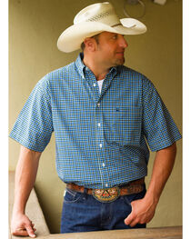 Cinch Men's White Tri-Blend One Pocket Short Sleeve Plaid Shirt, , hi-res