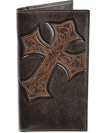 Nocona Tooled Cross Overlay Rodeo Wallet, , hi-res