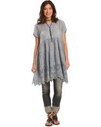 Johnny Was Women's Grey Arva Tiered Tunic , , hi-res