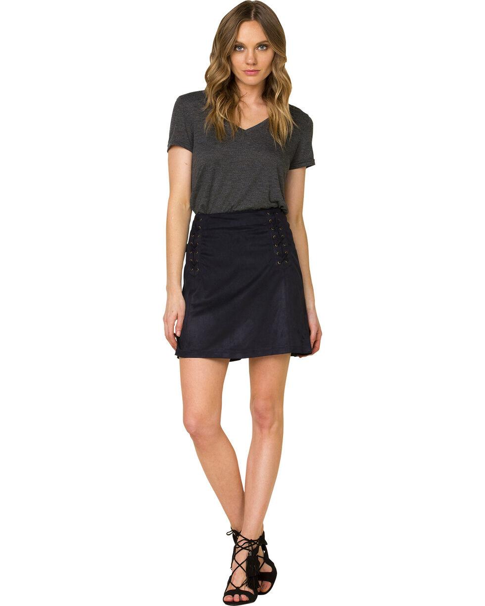 Miss Me Women's Black Faux Suede Skirt, , hi-res