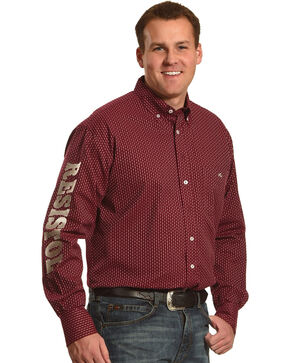 Resistol Men's Burgundy Stapleton Logo Button Shirt , Burgundy, hi-res