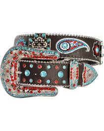 Blazin Roxx Cross Concho Floral & Paisley Embroidered Belt, , hi-res
