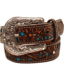 Ariat Girls' Brown Tooled Rhinestones Overlay Belt , , hi-res