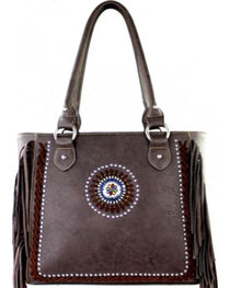Montana West Coffee Fringe Collection Braided Lacing Satchel, , hi-res