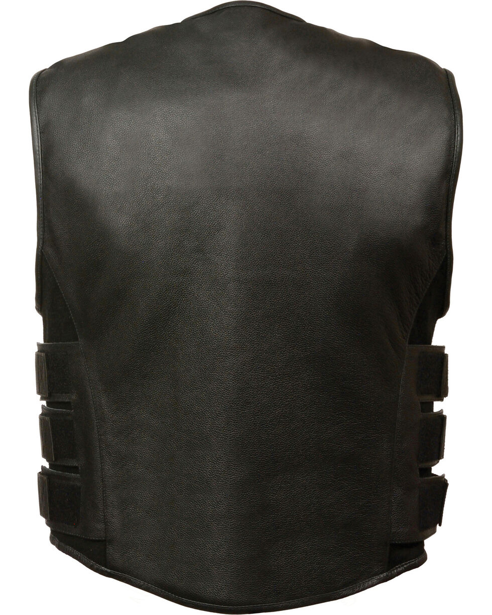 Milwaukee Leather Men's SWAT Style Zipper Front Vest - 5X, Black, hi-res