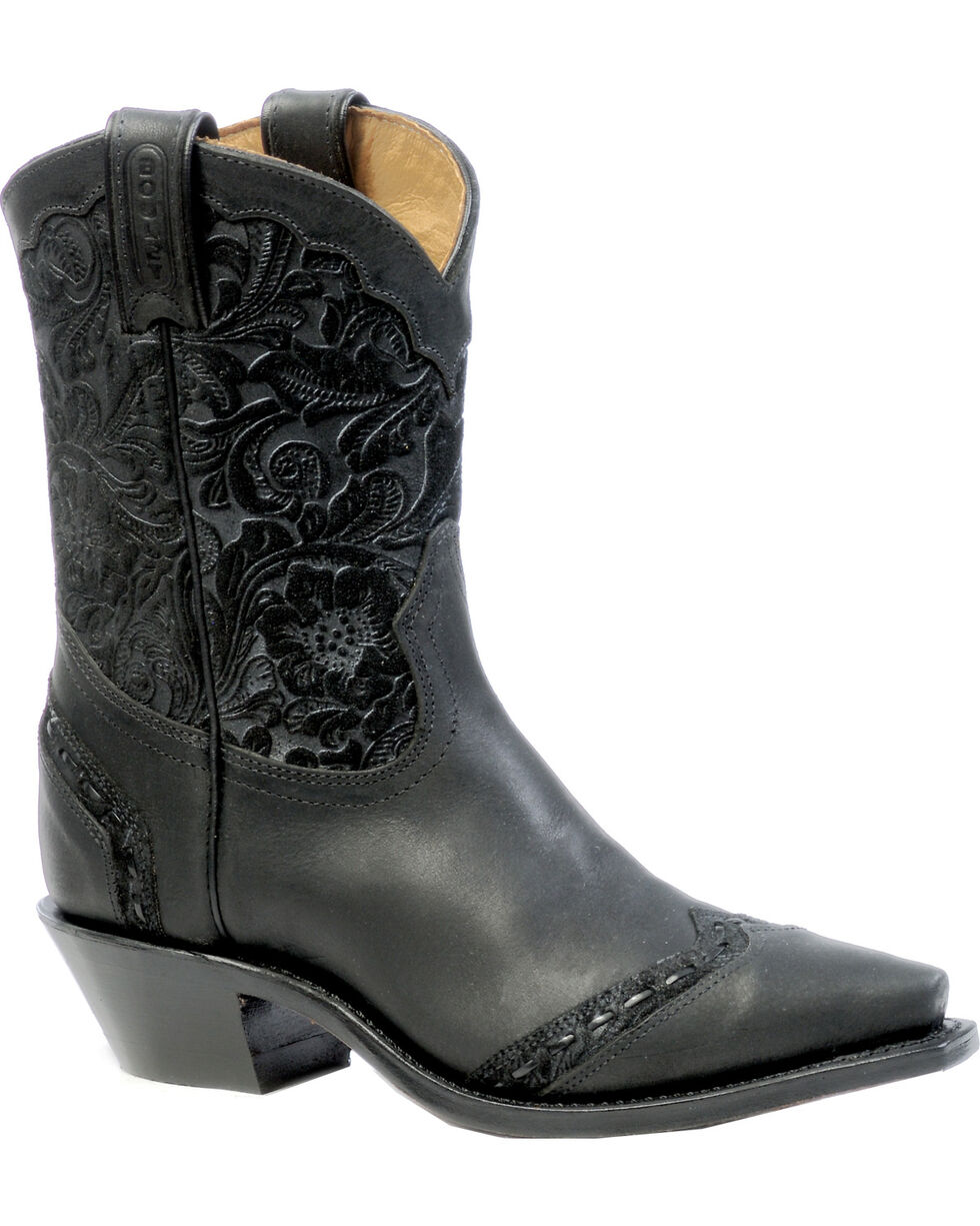 Boulet Art Barocco Calf Split Short Cowgirl Boots - Snip Toe, Black, hi-res