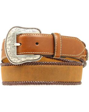 Nocona Kids' Leather Laced Edge Belt, Med Brown, hi-res