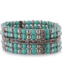 Shyanne® Women's Turquoise and Cross Cuff Bracelet, , hi-res