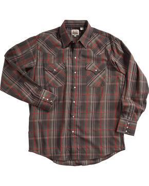 Ely Cattleman Men's Brown Textured Plaid Western Shirt , Brown, hi-res