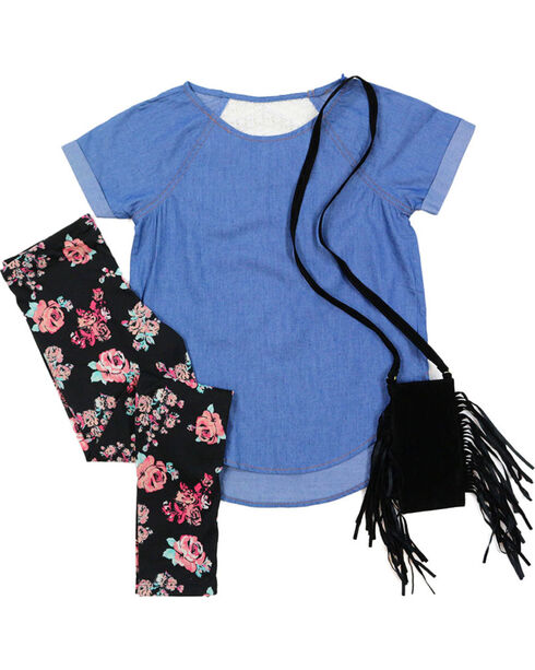 Self Esteem Girls' Denim Shirt, Floral Leggings and Fringe Bag Set, Dark Blue, hi-res