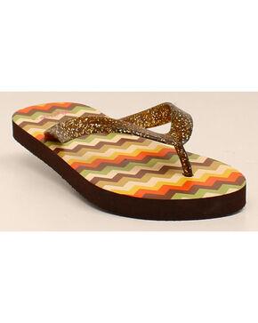 Blazin Roxx Tara Flip Flops , Brown, hi-res