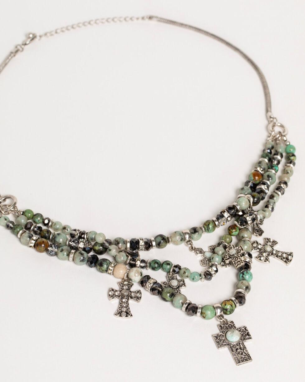 Shyanne Women's Jade Sea Multi-Strand Cross Jewelry Set, Silver, hi-res