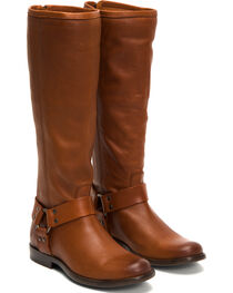 Frye Women's Cognac Phillip Harness Tall Boots - Round Toe , , hi-res