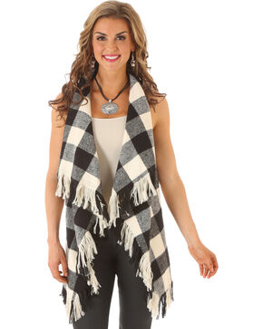 Rock 47 by Wrangler Women's Plaid & Fringe Vest, Black, hi-res