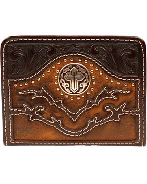 Nocona Tooled Overlay Cutout Studded Cross Concho Bi-Fold Wallet, Brown, hi-res