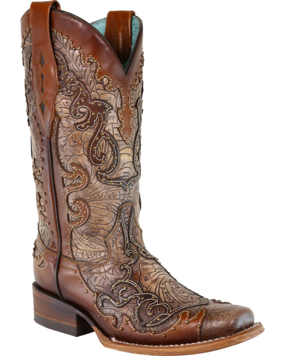 Corral Women's Brown Studded Inlay Cowgirl Boots - Square Toe, Natural, hi-res