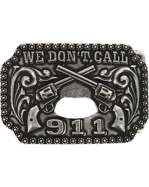 Cody James® Men's Double Pistol Bottle Opener Belt Buckle, Silver, hi-res