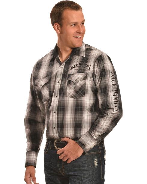 Jack Daniels' Men's Logo Embroidered Plaid Long Sleeve Shirt, Black, hi-res