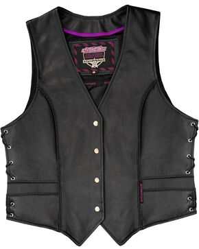 Interstate Leather Women's Braided Motorcycle Vest, Black, hi-res