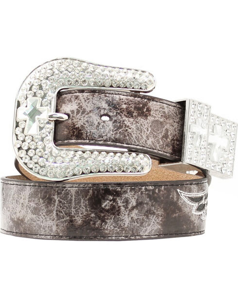 Nocona Snake Print Cross & Wing Inlay Belt, Grey, hi-res