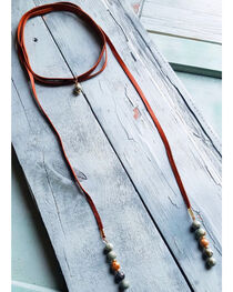 Jewelry Junkie Women's African Turquoise Lariat Necklace , Brown, hi-res