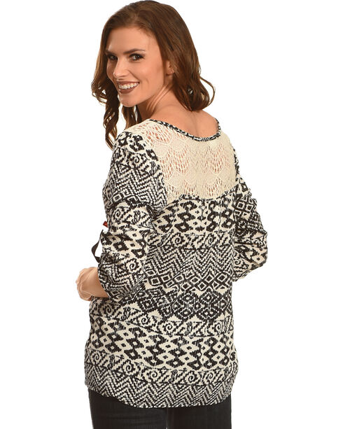 Panhandle Slim Women's Black Diamond Print Lace Peasant Top , Black, hi-res