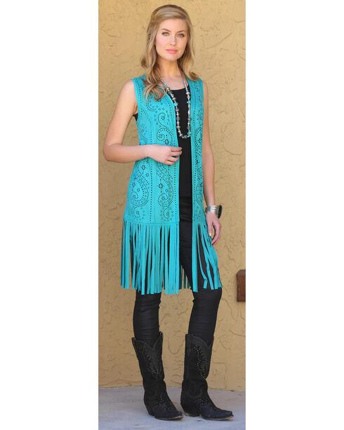 Wrangler Women's Laser Cut Fringe Faux Suede Vest, Turquoise, hi-res