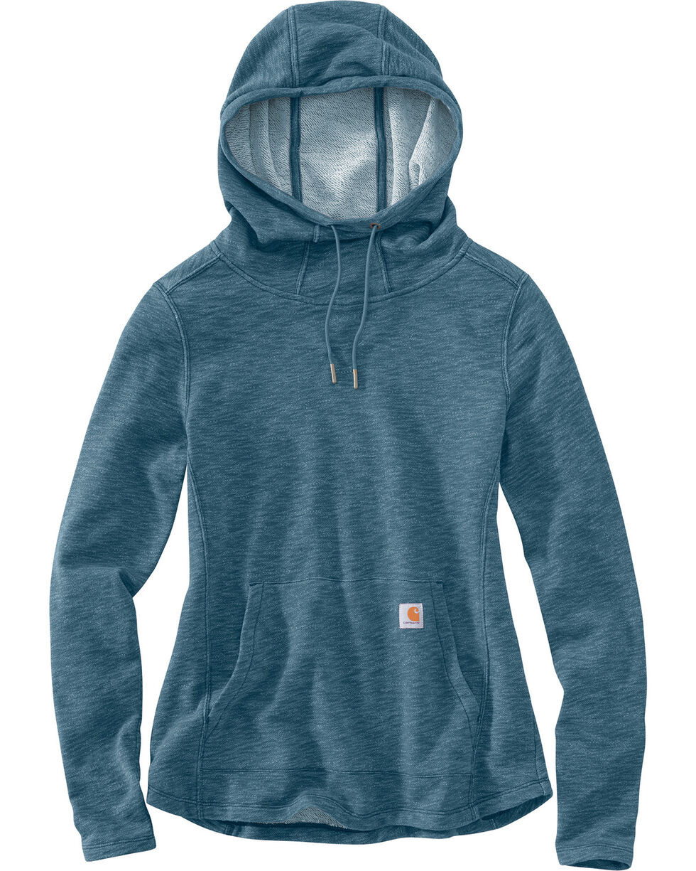 Carhartt Women's Newberry Cowl Neck Hoodie, Steel Blue, hi-res