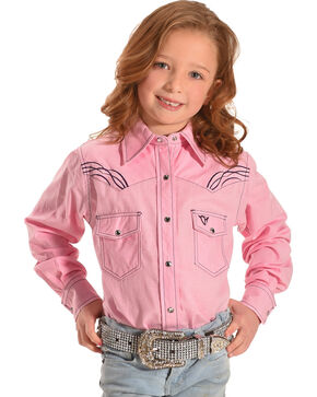 Cowgirl Hardware Toddler Girls' Horse Embroidered Long Sleeve Shirt , Pink, hi-res