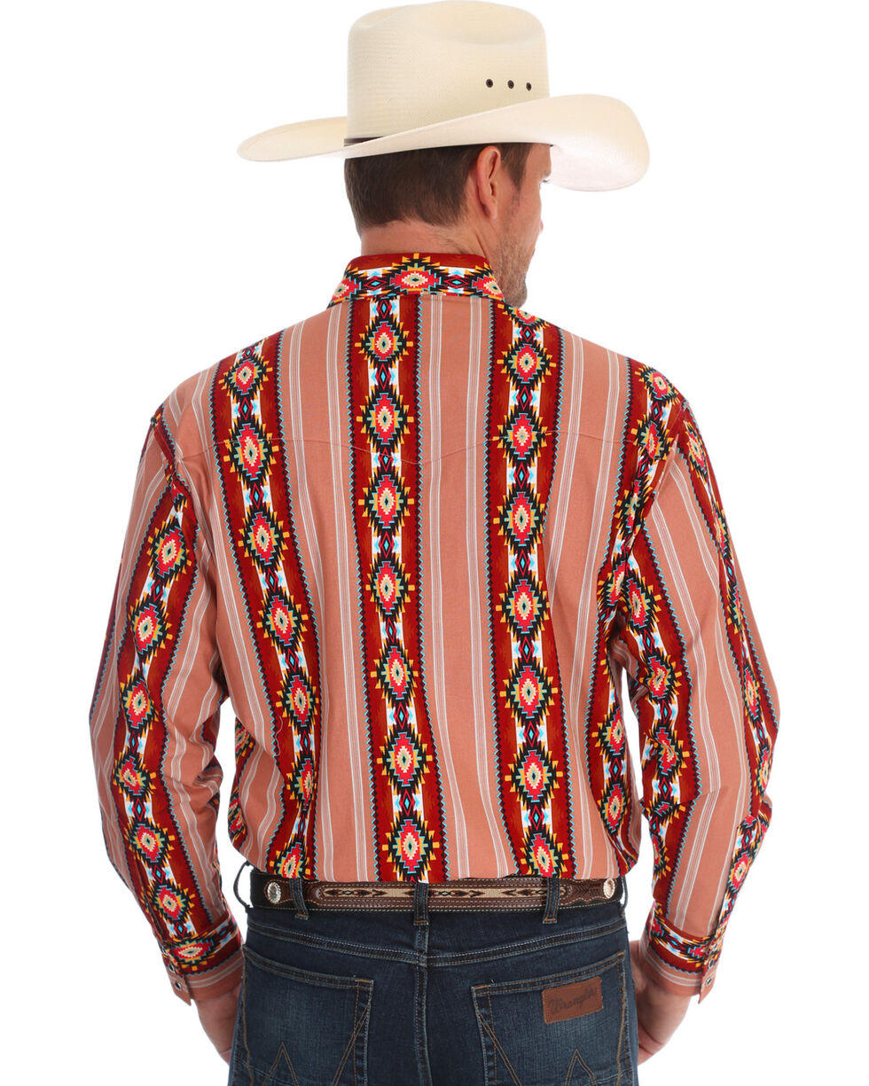 Wrangler Men's Checotah Long Sleeve Western Shirt , Brown, hi-res