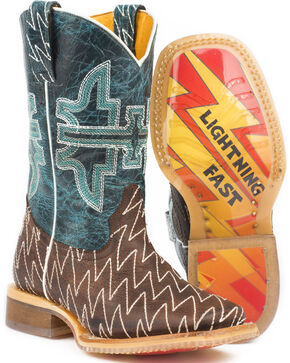 Tin Haul Boys' Thunderbolt Cowboy Boots - Square Toe, Brown, hi-res