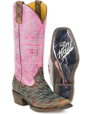 Tin Haul Women's Lightning Luke with A Perfect Storm Sole Cowgirl Boots - Square Toe, Brown, hi-res