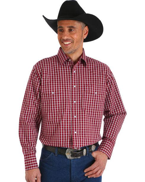 Wrangler Men's Wrinkle Resistant Burgundy Plaid Western Snap Shirt, Burgundy, hi-res