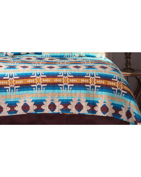 Carstens Southwest Harvest King Quilt, Blue, hi-res