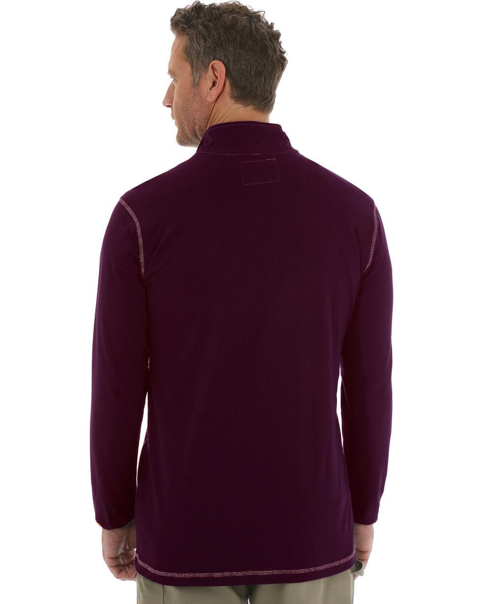 Wrangler 20X Flame Resistant Quarter-Zip Long Sleeve Pullover, Burgundy, hi-res