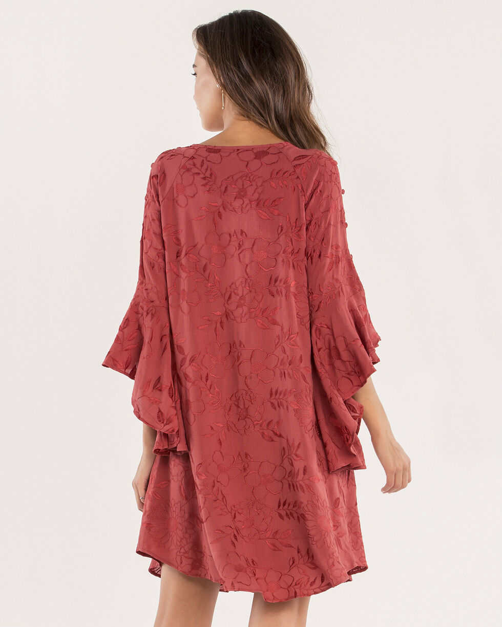 Miss Me Women's Sunset Glow Embroidered Floral Dress, Rust, hi-res